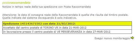 Il monitoraggio della spedizione sul sito internet di poste italiane